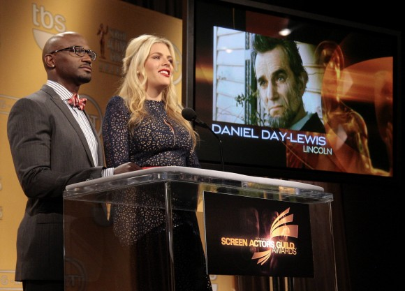 "Daniel Day-Lewis is announced as a nominee for Outstanding Performance by a Male Actor in a Leading Role for ""Lincoln"" as actors Taye Diggs (L) and Busy Philipps announce the nominations for the 19th"