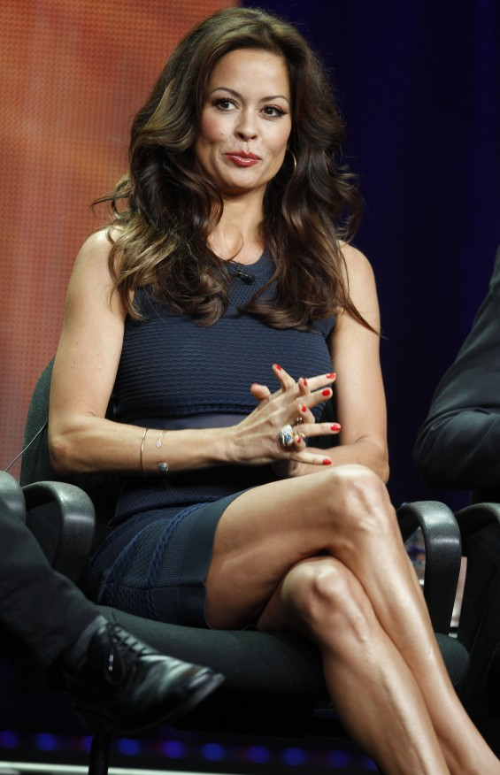 "Brooke Burke-Charvet, host of the upcoming reality series ""Dancing with the Stars: All Stars"" speaks during a panel discussion at the Disney-ABC Television Group portion of the Television Critics Asso"