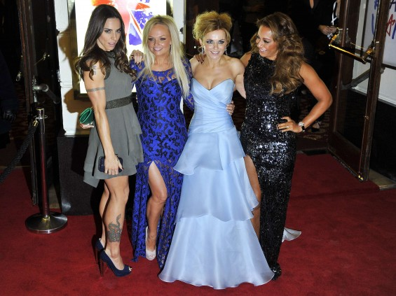 "Spice Girl members Melanie Brown (R-L), Geri Halliwell, Emma Bunton and Melanie Chisholm arrive for the premiere of the musical ""Viva Forever!"", based on the music of the Spice Girls, in central Londo"