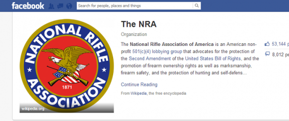 The NRA Facebook page remains inaccessible as of Dec. 18