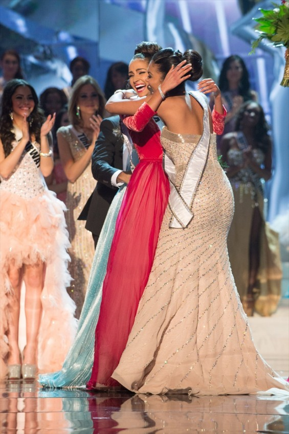 Miss USA, Olivia Culpo, is declared the winner of the 2012 Miss Universe Competition and is congratulated by Miss Teen USA 2012, Logan West. She is crowned with the Diamond Nexus Labs crown and celebr