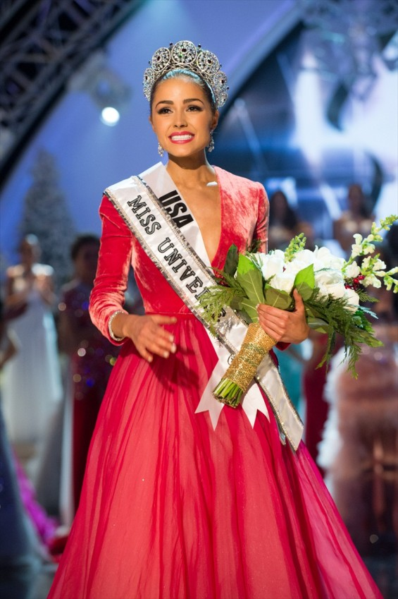 Miss USA, Olivia Culpo, is crowned Miss Universe 2012 by Miss Universe 2011, Leila Lopes. She is crowned with the Diamond Nexus Labs crown and celebrates onstage at the close of the LIVE NBC Telecast