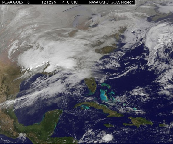A NASA image shows storm clouds on the east coast of the U.S.