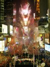 "Fireworks explode above New York's Times Square at midnight on New Year's Eve, January 1, 2003. Hundreds of thousands of revelers packed Times Square to watch the 99th annual ""ball drop,"" celebrating"