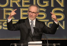 Director Steven Spielberg speaks at The Hollywood Foreign Press Association's (HFPA) annual luncheon to announce financial grants to film schools and non-profit organizations at the Beverly Hills hote