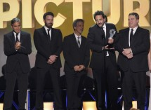 "Producer Grant Heslov accepts the award for ""Best Picture"" for ""Argo"" along with other members of the production at the 2013 Critics' Choice Awards in Santa Monica, California, January 10, 2013."