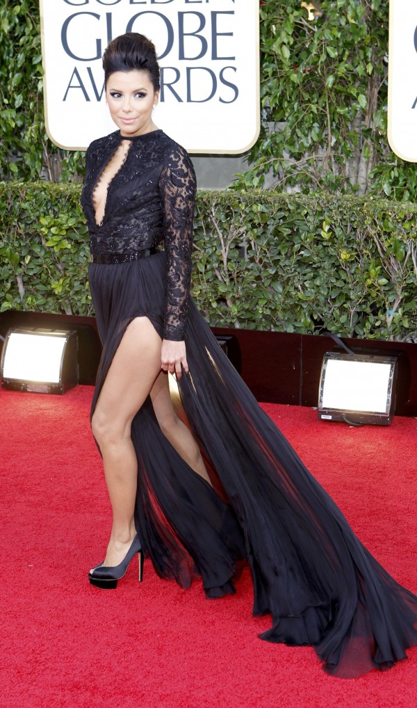 Actress Eva Longoria arrives at the 70th annual Golden Globe Awards in Beverly Hills, California, January 13, 2013.