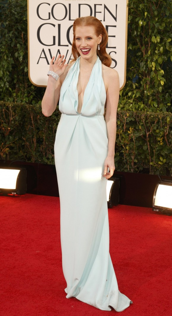 """Actress Jessica Chastain of the film """"Zero Dark Thirty"""" at the 70th annual Golden Globe Awards in Beverly Hills, California January 13, 2013."""
