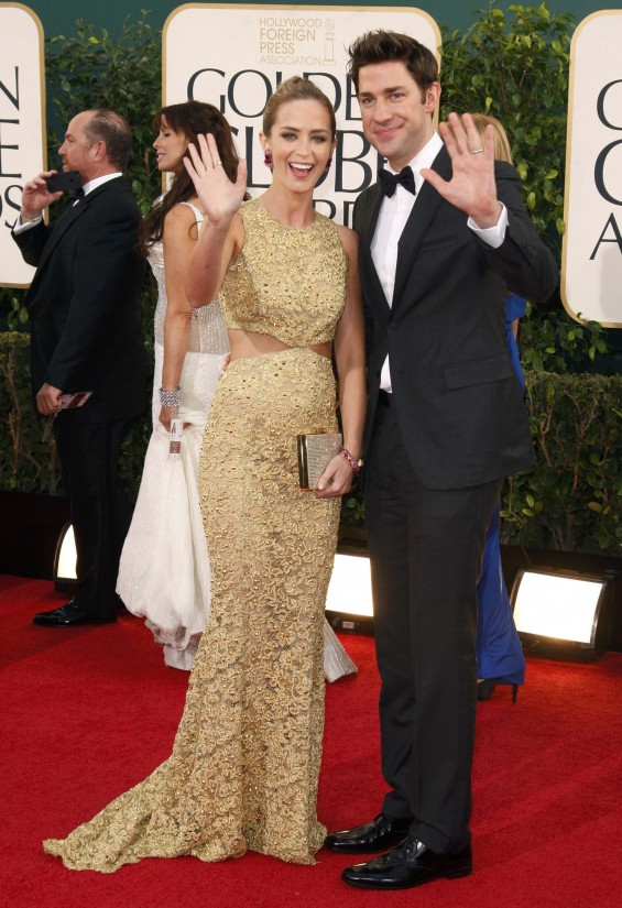 "Actress Emily Blunt of the film ""Salmon Fishing in the Yemen"" and her husband, actor John Krasinski at the 70th annual Golden Globe Awards in Beverly Hills, California January 13, 2013."