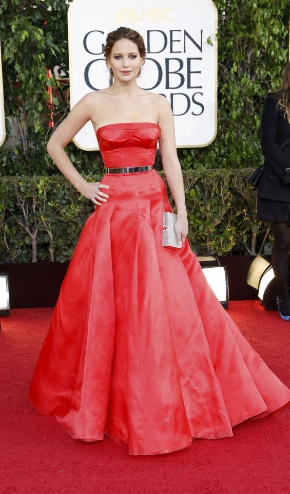 Actress Jennifer Lawrence at the 70th annual Golden Globe Awards in Beverly Hills, California