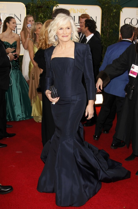 "Actress Glenn Close of the TV drama ""Damages"" at the 70th annual Golden Globe Awards in Beverly Hills, California January 13, 2013."