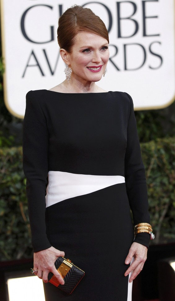 Actress Julianne Moore arrives at the 70th annual Golden Globe Awards in Beverly Hills, California, January 13, 2013.