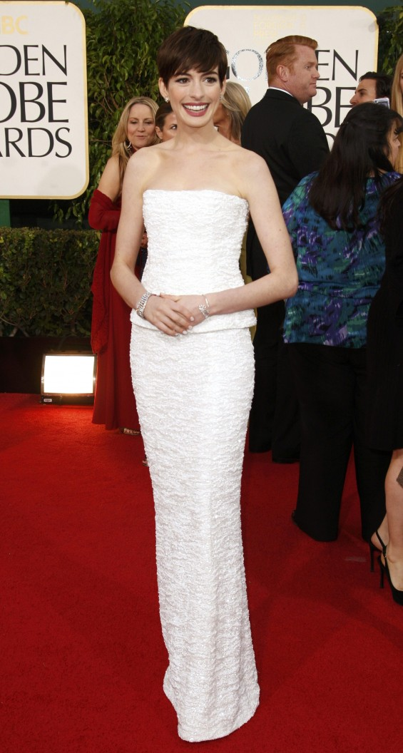 "Actress Anne Hathaway of the film ""Les Miserables"" at the 70th annual Golden Globe Awards in Beverly Hills, California January 13, 2013."