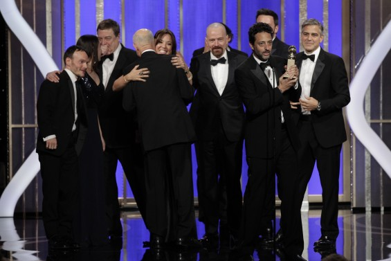 &#034;Argo&#034; Producer Grant Heslov, with trophy, and cast and crew accept the award for Best Motion Picture, Drama, for &#034;Argo&#034; at the Golden Globe Awards in Beverly Hills, California January 13, 2013, in th