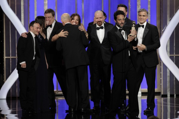 """Argo"" Producer Grant Heslov, with trophy, and cast and crew accept the award for Best Motion Picture, Drama, for ""Argo"" at the Golden Globe Awards in Beverly Hills, California January 13, 2013, in th"
