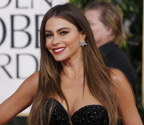 Actress Sofia Vergara, from the sitcom &#034;Modern Family,&#034; arrives at the 70th annual Golden Globe Awards in Beverly Hills, California, January 13, 2013. 