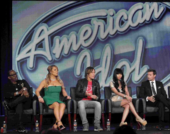 Randy Jackson (L-R), Mariah Carey, Keith Urban, Nicki Minaj and host Ryan Seacrest