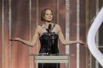 Actress Jodie Foster speaks as she accepts the Cecil B. Demille Award, on stage on at the Golden Globe Awards in Beverly Hills, California on January 13, 2013, in this picture provided by NBC.