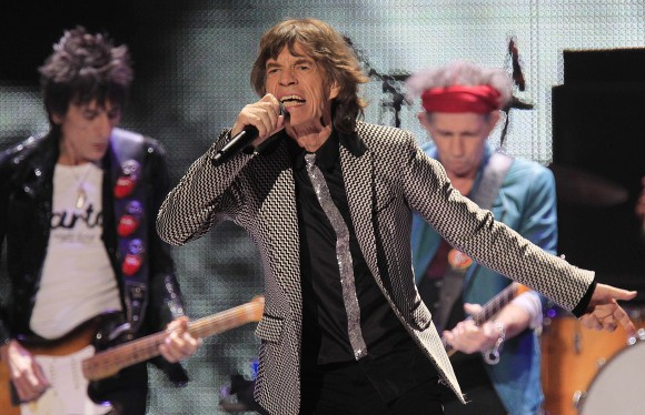 "Ronnie Wood (L) Mick Jagger and Keith Richards perform onstage during the Rolling Stones final concert of their ""50 and Counting Tour"" in Newark, New Jersey, December 15, 2012."