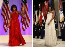Michelle Obama wearing Jason Wu in 2009 and Jan. 21, 2013