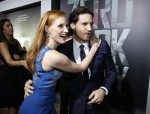 "Cast members Jessica Chastain and Edgar Ramirez greet each other at the premiere of ""Zero Dark Thirty""at the Dolby theatre in Hollywood, California December 10, 2012. The movie opens in the U.S. on Ja"