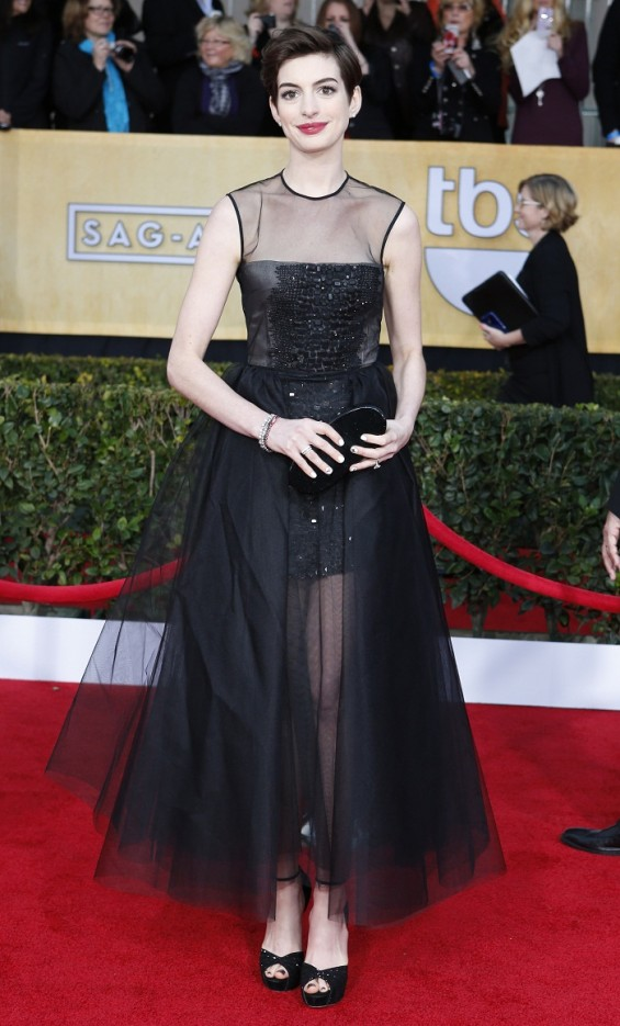 "Actress Anne Hathaway, from the film ""Les Miserables,"" arrives at the 19th annual Screen Actors Guild Awards in Los Angeles, California January 27, 2013."