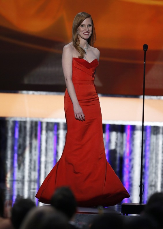 "Actress Jessica Chastain takes the stage to introduce a clip from ""Zero Dark Thirty"" at the 19th annual Screen Actors Guild Awards in Los Angeles, California January 27, 2013."