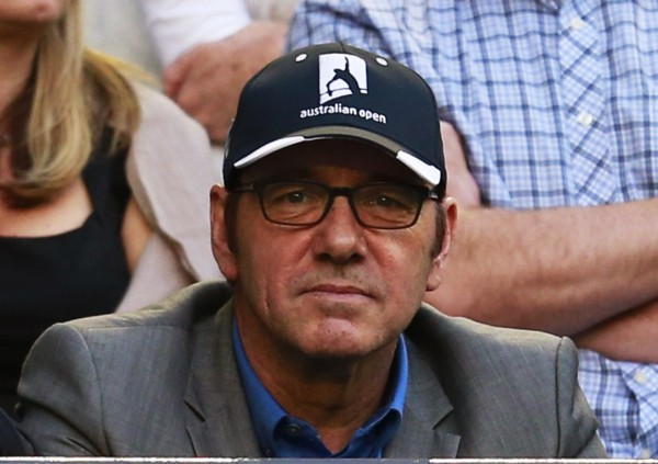 Actor Kevin Spacey attends the women's singles final match between Victoria Azarenka of Belarus and Li Na of China at the Australian Open tennis tournament in Melbourne January 26, 2013.