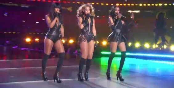 "Beyonce and ""Destiny's Child"" Michelle Williams and Kelly Rowl perform at the halftime show of the Super Bowl 2013 in New Orleans on February 3, 2013."