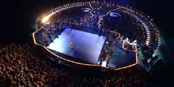 An aerial view of the stage of Beyonce's Halftime Show for the Super Bowl 2013 on February 3, 2013.