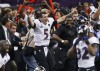 Baltimore Ravens quarterback Joe Flacco celebrates as the Ravens defeat the San Francisco 49ers to win the NFL Super Bowl XLVII football game in New Orleans, Louisiana, February 3, 2013