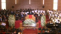 Whitney Houston's Coffin Lays at Her Funeral Service