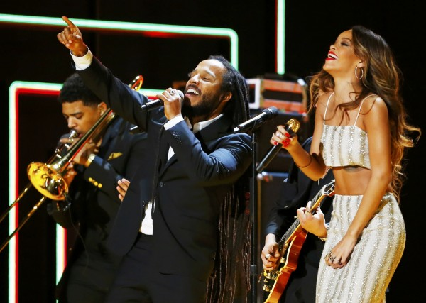 Ziggy Marley and Rihanna perfrom a tribute to Bob Marley at the 55th annual Grammy Awards in Los Angeles, California, February 10, 2013