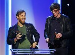 Black Keys members Dan Auerbach and Patrick Carney (R) accept their awards for best rock album and best rock song at the 55th annual Grammy Awards in Los Angeles, California, February 10, 2013.