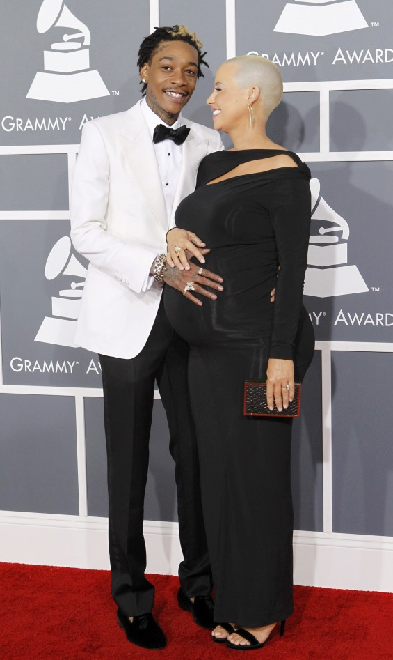 Rap artist Wiz Khalifa and Amber Rose arrive at the 55th annual Grammy Awards in Los Angeles, California February 10, 2013.