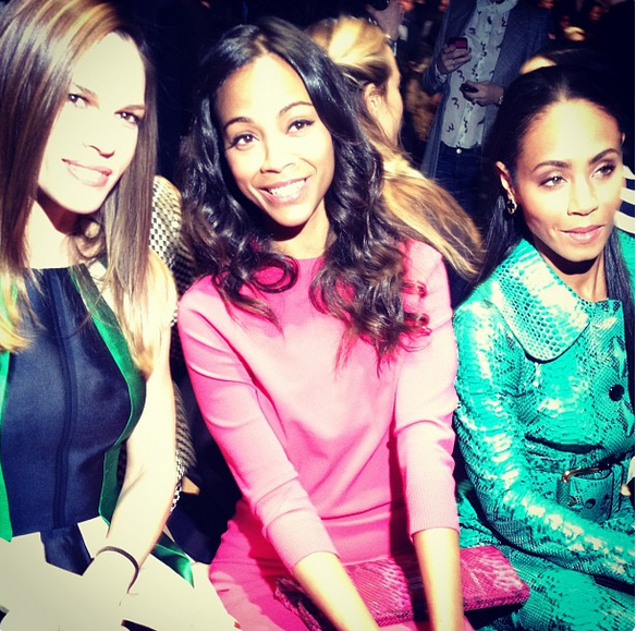 Hillary Swank, Zoe Saldana and Jada Pinkett-Smith at the Michael Kors show