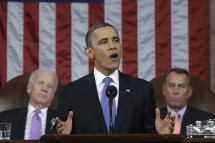 U.S. President Barack Obama (C), flanked by Vice President Joe Biden (L) and House Speaker John Boehner (D-OH), delivers his State of the Union speech on Capitol Hill in Washington, February 12, 2013.