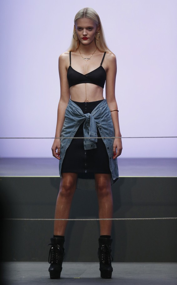 Models present creations from the Rihanna for River Island 
