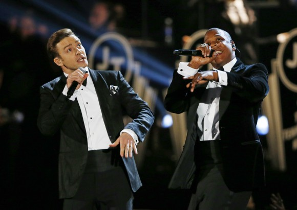 Justin Timberlake performs with Jay-Z (R) at the 55th annual Grammy Awards in Los Angeles, California, February 10, 2013.