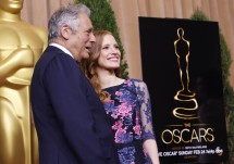 "Academy of Motion Pictures Arts and Sciences president Hawk Koch and actress Jessica Chastain, nominated for best actress for her role in ""Zero Dark Thirty"" pose at the 85th Academy Awards nominees lu"