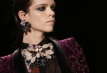 A model displays a creation from Roberto Cavalli Autumn/Winter 2013 collection at Milan Fashion Week February 23, 2013