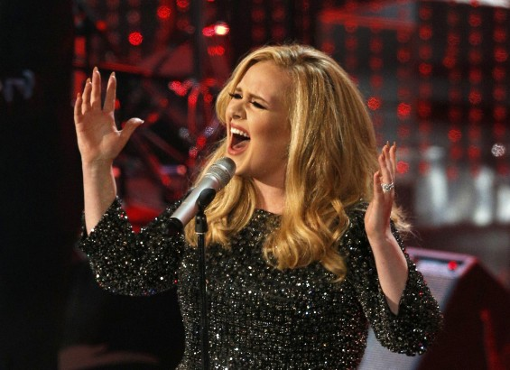 "British singer Adele performs the song ""Skyfall"" from the film ""Skyfall,"" nominated as best original song, at the 85th Academy Awards in Hollywood, California February 24, 2013."