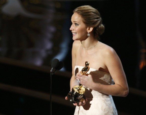 "Actress Jennifer Lawrence accepts the award for best actress for her role in ""Silver Linings Playbook"" at the 85th Academy Awards in Hollywood, California February 24, 2013."