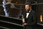 "Director and producer Ben Affleck accepts the Oscar for best picture for ""Argo"" at the 85th Academy Awards in Hollywood, California, February 24, 2013."