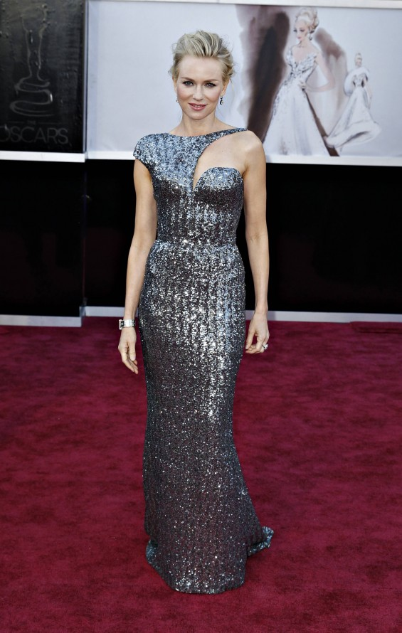 "Best Actress nominee for ""The Impossible"" Naomi Watts wearing an Armani Prive dress, Jimmy Choo shoes, Neil Lane jewels, and carrying a Roger Vivier bag, arrives at the 85th Academy Awards in Hollywoo"