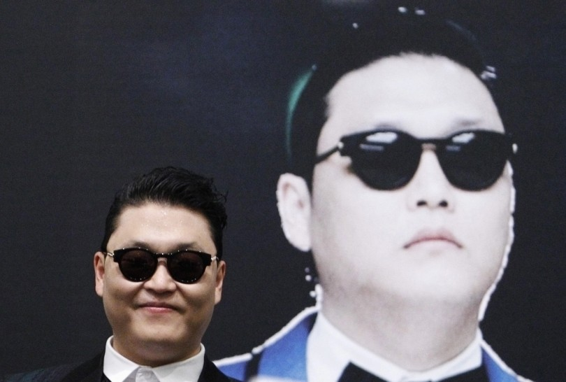 South Korean rapper Psy attends a news conference before a free concert at the Marina Bay Sands in Singapore, in this December 1, 2012 file picture.
