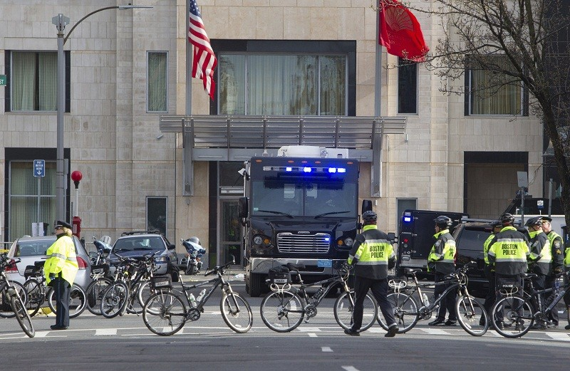 Police block the entrance to Boylston street near the scene of one of the explosions at the finish line of the Boston Marathon in Boston, Massachusetts April 15, 2013. Two explosions hit the Boston Ma