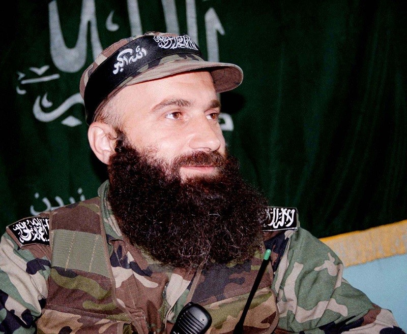 A file picture shows Chechen warlord Shamil Basayev in the village of Ansalta in Botlikhsky district of Dagestan in southern Russia on August 12, 1999.