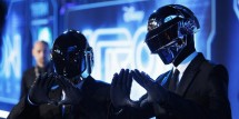 Musicians Thomas Banglater and Guy-Manuel de Homem-Christo of Daft Punk pose at the world premiere of the film