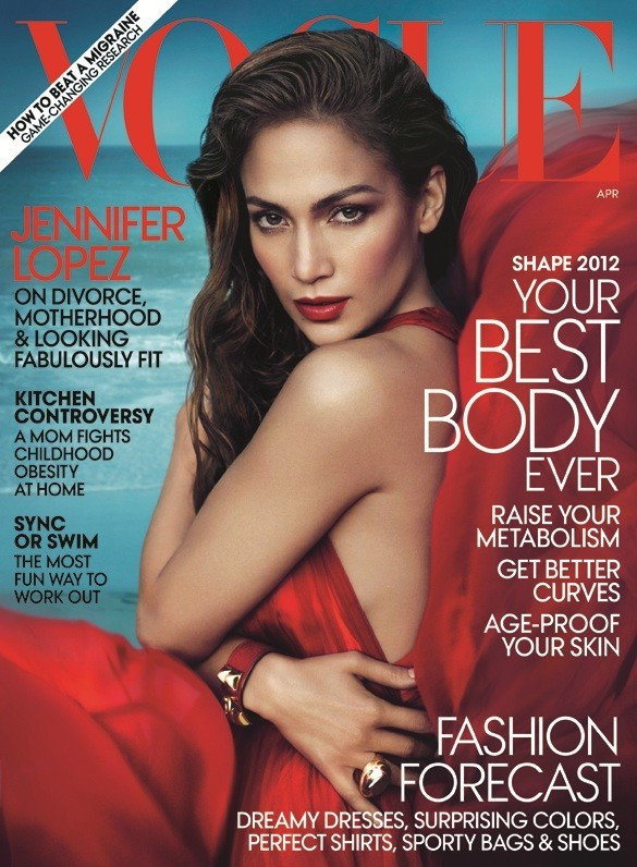 Photo Credit: Vogue - Jennifer Lopez on the cover of Vogue magazine's April issue.